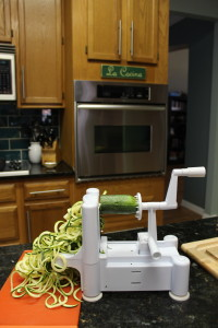 Demonstrating how easy it is for my Paderno Vegetable Spiral Slicer to cut zucchini