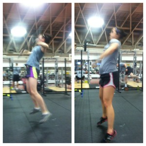 Here is why I realized I could no longer do snatches with the bar at 7 months preggo. Look at Sonya on the left when she is doing her snatches, she is exploding and opening up those hips. I on the otherhand, am curling.