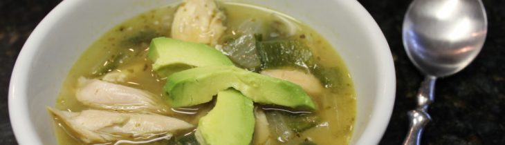 A beautiful close up of my Paleo Roasted Chicken and Poblano Soup with fresh avocado. Yum!