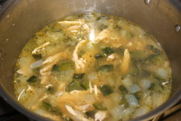 Added the final ingredient, the broth, to my Paleo Roasted Chicken and Poblano Soup