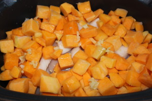 Add your cubed butternut squash and garlic to the crock pot
