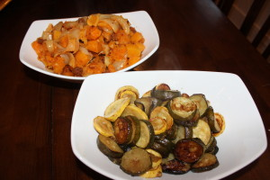 """Both vegetables sides side by side to each other. How delicious does those Balsamic Roasted Zucchini and Summer Squash and the Roasted Butternut Squash and Chorizo look? Too good to be """"healthy,"""" I know."""