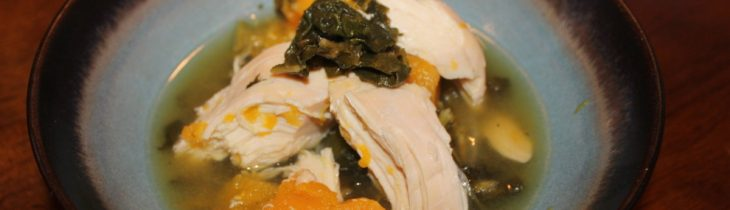 Close up of the Crock Pot Chicken Butternut Squash and Kale Soup