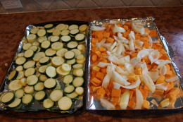 My two favorite roasted vegetable sides that take minimal prep time to make: Balsamic Roasted Zucchini and Summer Squash Medley and my delicious Paleo Roasted Butternut Squash and Chorizo Stuffing