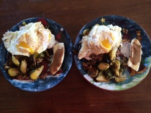 His and hers of my new Roasted Brussel Sprout Breakfast Hash