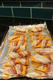 Here is one example where I used toothpicks to hold the bacon wrapped around the sweet potato