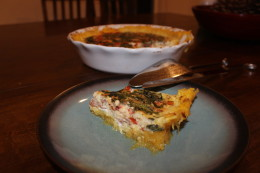 Another angle of a piece of the Paleo Bacon, Cherry tomato, Bbasil and egg quiche with a spaghetti squash crust pie. I love how the spaghetti squash holds together like a pie crust would