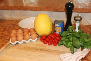 Ingrendients for my Paleo Bacon, Cherry Tomato, basil and egg casserole with a spaghetti squash crust