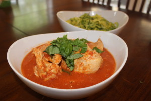 The finished product, my Easy Peasy Crock Pot Chicken in a Paleo Tomato and Cream Sauce served with Zuchini Zoodles