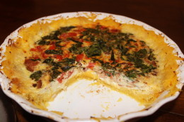 Hello there Paleo Bacon, Cherry tomato, basil and egg quiche with a spaghetti squash crust
