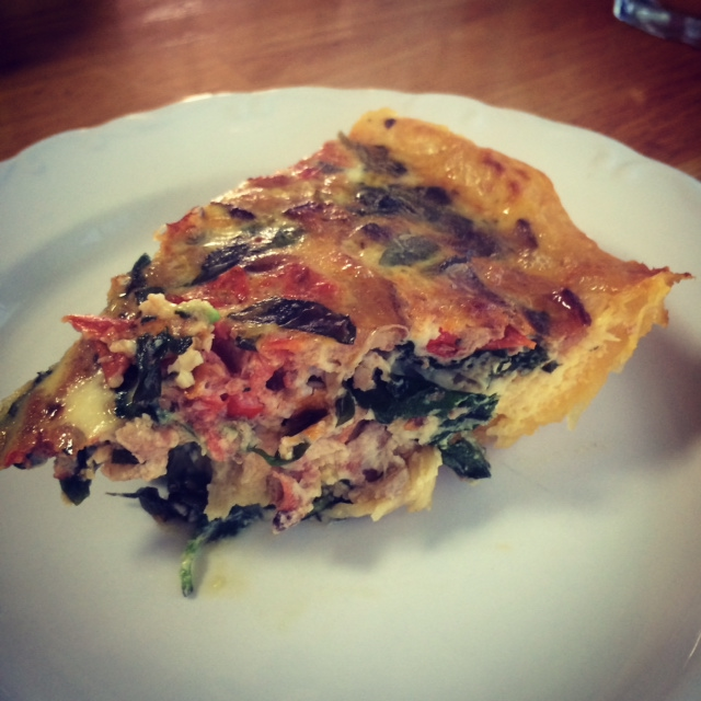 A close up of my quiche when I added spinach. Remember, eat more vegetables than a vegetarian