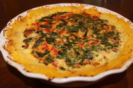 What your Paleo Bacon, Cherry Tomato, basil and egg quiche with a spaghetti squash crust looks like AFTER it roasted in the oven