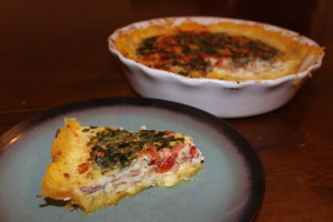 Is  this Bacon, Cherry Tomato, Basil and Egg Quiche ith a Spaghetti Squash Crust not the prettiest breakfast quiche you have ever seen?