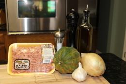 Ingredients for my Paleo Pork Sausage and Acorn Squash Hash