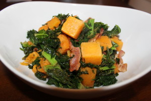 Love the natural colors of my Paleo Sauteed Kale, Bacon and Butternut Squash