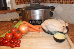 "Paleo Crock Pot Chicken ""Tortilla"" Soup Ingredients with my trusty, life savor Cuisinart Crocl Pot"
