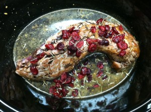 Added the browned pork tenderloin with broth balsamic and cranberries