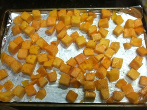 Before roasting the butternut squash for the Paleo Pork Sausage and Butternut Squash Stuffing Casserole