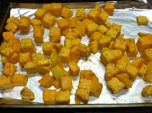 Butternut Squash Ready to go in the oven to roast