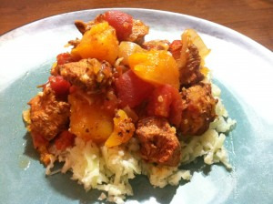 Chicken Tagine with Butternut Squash served over my no grain cauliflower rice