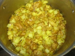 Combine chicken in pan