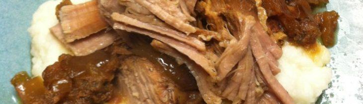 Paleo Crock Pot Apple and Honey Pork Tenderloin served with no grain mashed cauliflower