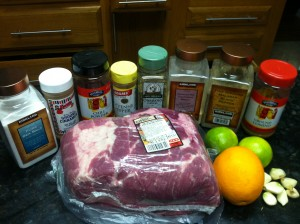 Crock Pot Pork Shoulder Pernil Carnitas Style Ingredients