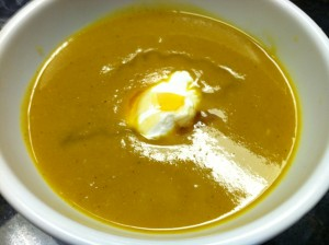 Curry Butternut Squash Final product with dollup of non fat greek yogurt and honey
