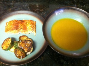 Curry Butternut Squash Soup with salmon and roasted zucchini