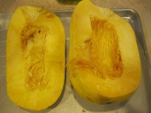 Cut squash in half lengthwise