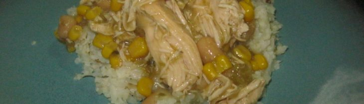 "Green Chile Chicken with Cauliflower ""rice"""