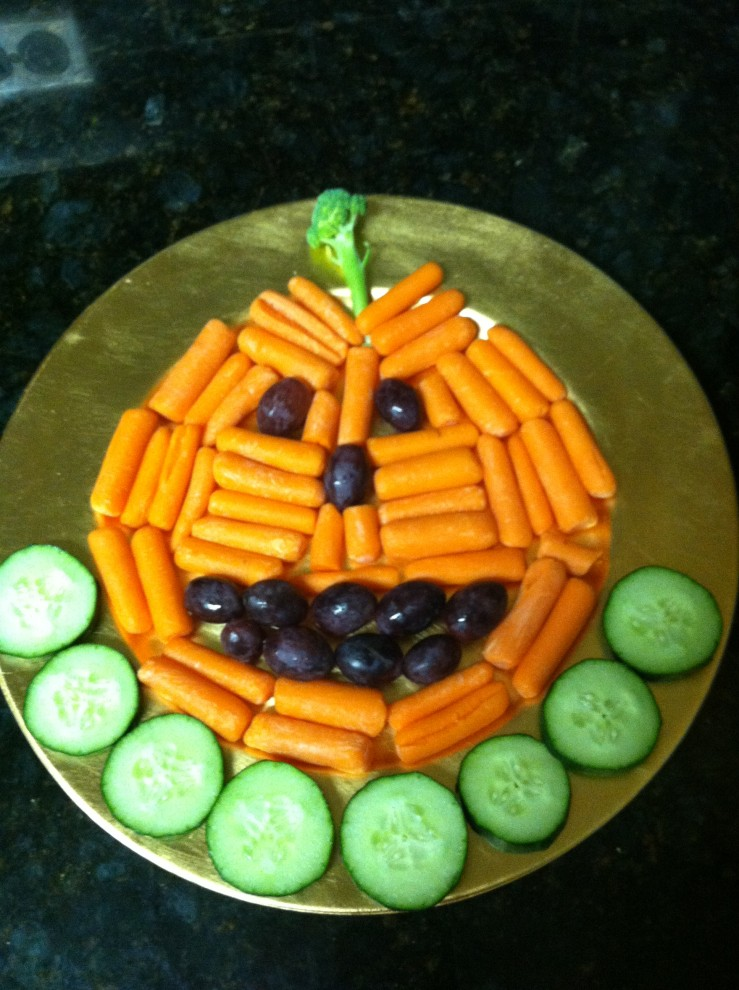 healthy halloween diy pumpkin vegetable tray our full plate