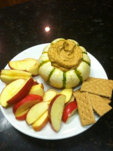 Healthy Pumpkin Dip with fruit and graham crackers