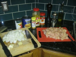 Ingredients chopped up and ready to go