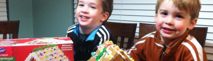 Our gingerbread house looks nothing like the box despite our multiple efforts