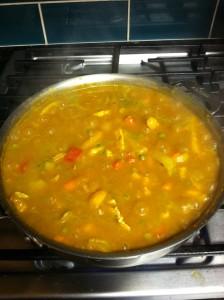 Pumpkin Chicken Curry Stir Fry blending into yummy goodness