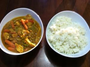 Pumpkin Chicken Curry Stir Fry served with no grain coconut cauliflower rice