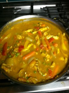Pumpkin Chicken Curry Stir Fry simmering