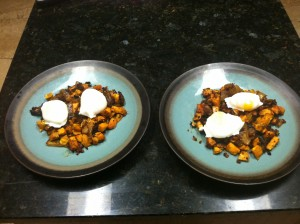 Sweet Potato Hash with Poached Eggs Breakfast for two