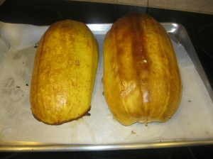 What the squash looks like after 1 hour in oven